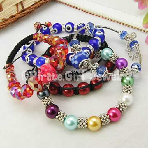 5 Fashionable Mixed Bracelets, Vary in Materials and Colors, 55mm