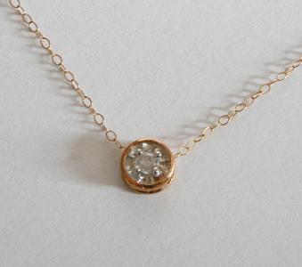 0.10ct Diamond Pendant and fine Yellow Gold Chain